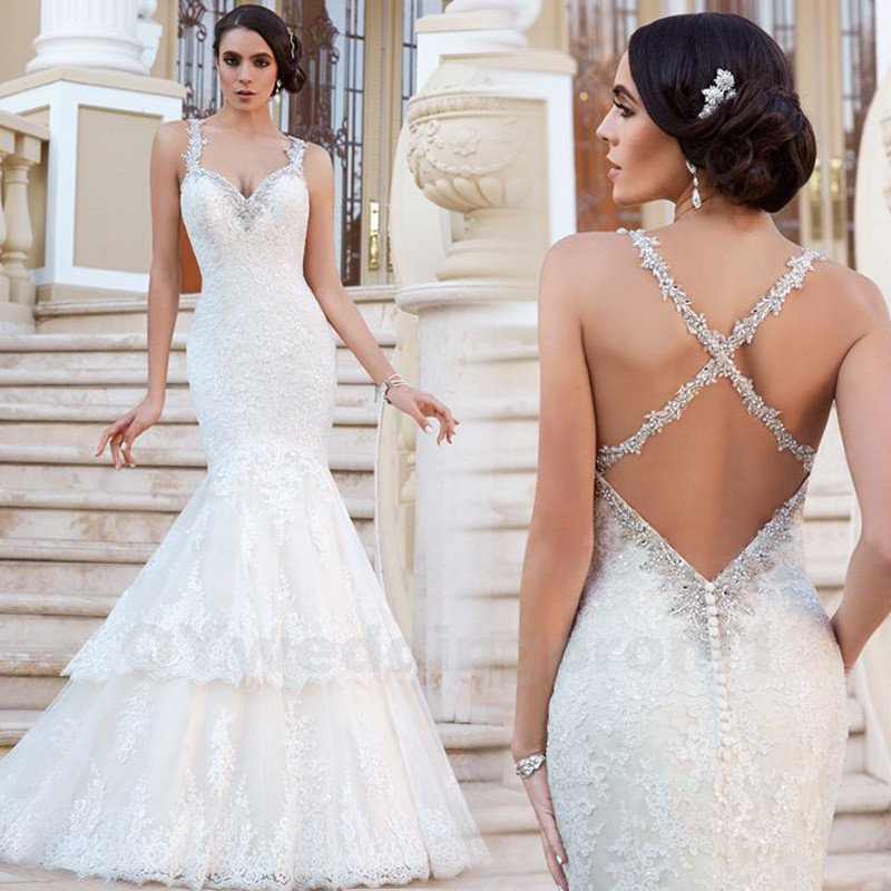 Backless Lace Wedding Dress New Appliques Romantic White Ivory Sexy Long Mermaid Wedding Dress