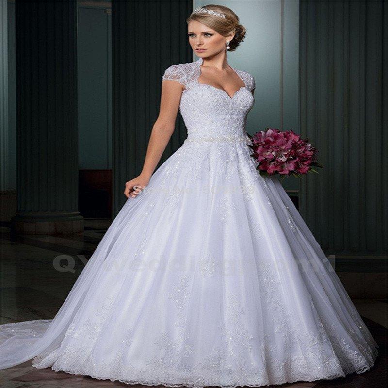 High Quality Lace Wedding Dress Cap Sleeve Long A-Line Sexy Backless Wedding Dress