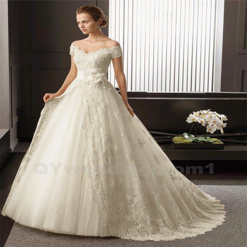 White Long Lace Wedding Dress Bridal Dress Elegant A-Line V-neck Cap Sleeve Wedding Gown