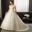 White Long Lace Wedding Dress Bridal Dress Elegant A-Line V-neck Cap Sleeve Wedding Gown