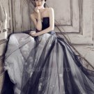 Tulle Wedding Dress Long Black White Wedding Dress 2016 New Fast Shipping