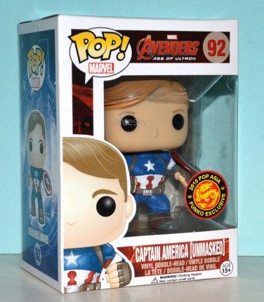 Funko Pop Captain America Unmasked Vinyl Figure #92 Asia Exclusive 2015