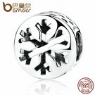 Bamoer Authentic 925 Sterling Silver Christmas snowflake Charm fit Bracelet hot