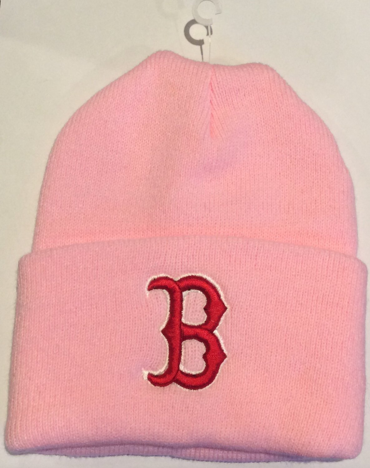 MLB RED SOX Women's Knit Pink Beanie Hat