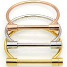 18K Yellow/Rose/White Gold Bar Screw Horseshoe Bracelet