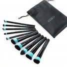 RUIMIO 10pcs Portable Cosmetic Makeup Brushes Set With PU Pouch+ Foundation Make Up Puff