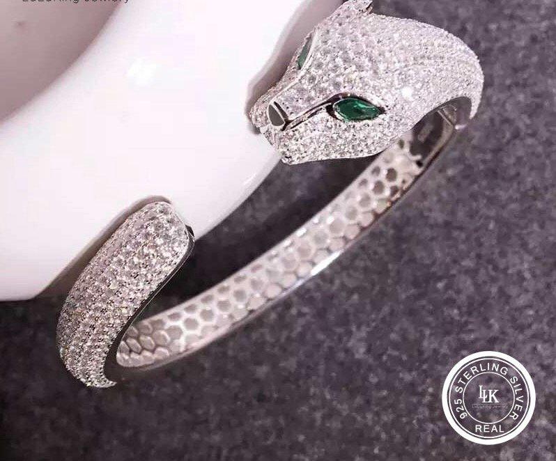Panther Bracelet Full CZ Paved Sterling Silver S925 Bracelet