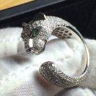 18K White Gold & Sona Diamond Panther Ring