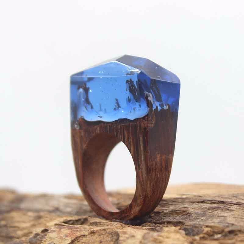 Snow Cap Mountains Wood Resin Ring Women's Sizes 6-9- Endless August