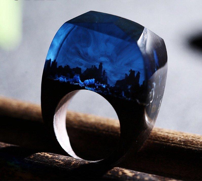 Secret World Wood Resin Ring Women's Sizes 6-9- Endless August