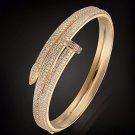Juste Un Clou Diamond 18K Yellow Gold Double Nail Bracelet Size 18