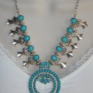 Southwestern Cowgirl Turquoise Blue Squash Blossom Tibetan Silver Western Necklace