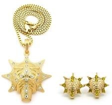 """Hip Hop Iced Out Micro Glo Gang Pendant 24"""" Box Chain Necklace Earring Set"""