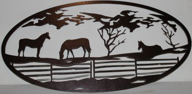3 Grazing Horses Oval Scene Metal Wall Art Home Decor