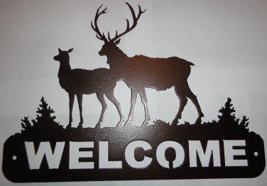 2 Elk Welcome Sign Metal Wall Art Home Decor