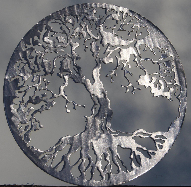 Tree of life metal wall art home decor 24 polished silver for Home decor 24