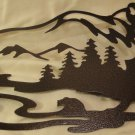 Bear with Bear and Mountains Scene Metal Wall Art Home Decor