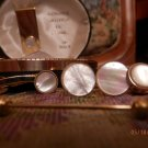 Vintage Genuine Mother of Pearl by Stacy Cuff Links Tie Tack Monsy Cip & ect.