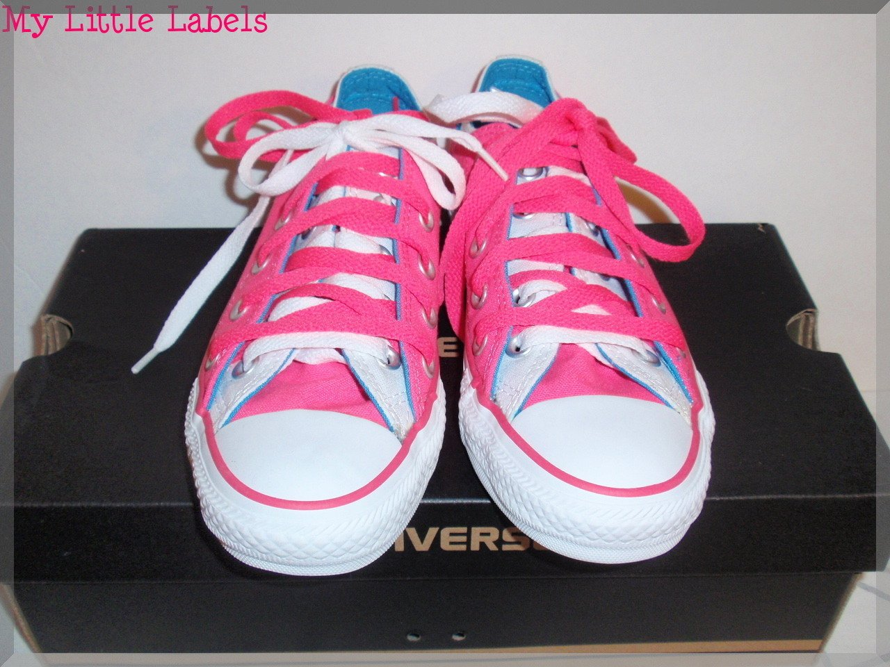 New Girls Converse All Star Double Tongue Pink/Light Blue Sneakers Size 3Y