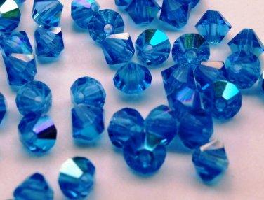 50 Zche bicone beads Capri blue AB 4mm