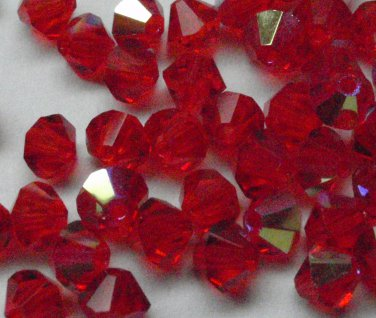 50 Zche bicone beads Siam AB 4mm