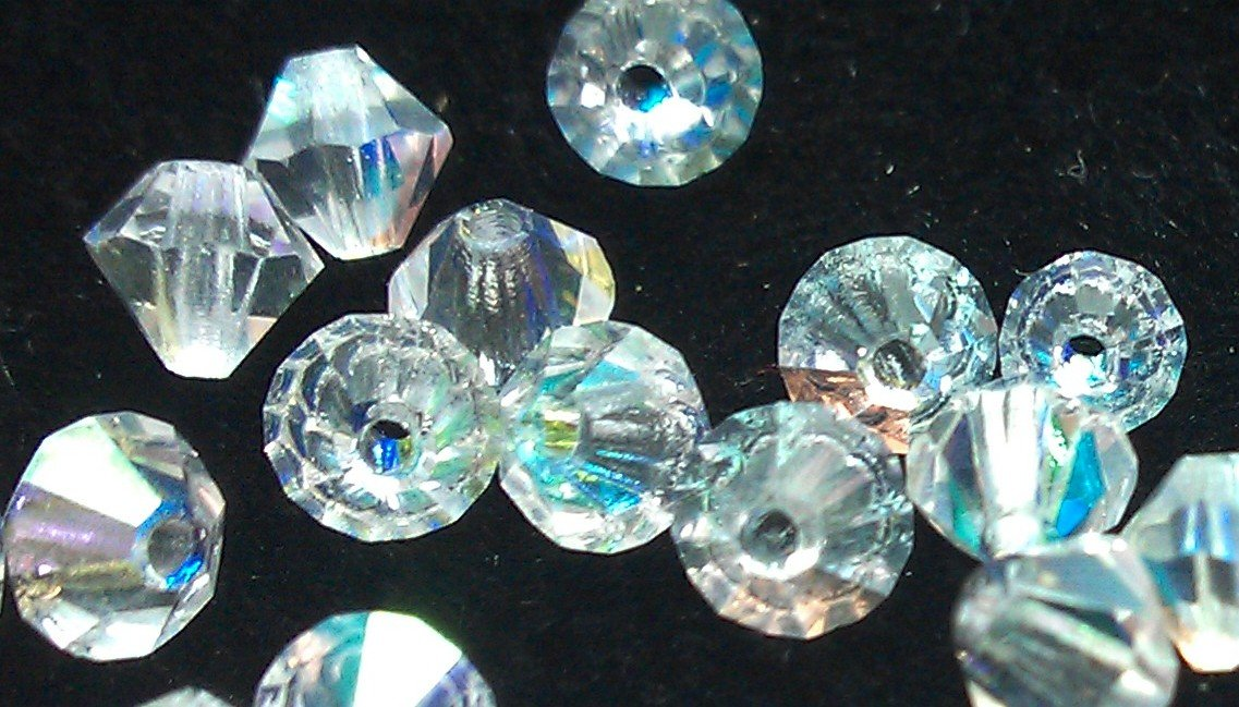50 bicone beads zche Crystal AB 4mm