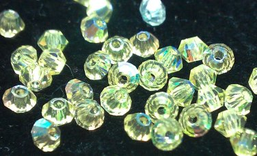 50 bicone beads zche Jonquille AB 3mm