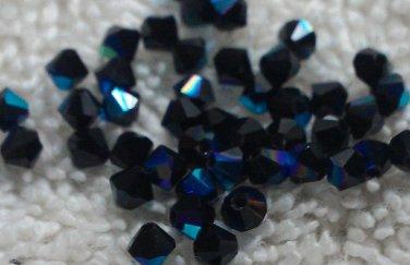50 bicone beads zche Jet Black AB 3mm