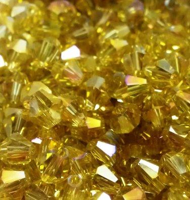 50 bicone beads 6 mm Jonquil AB