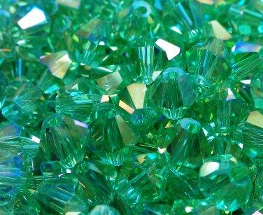 50 bicone beads 6 mm Lite Chrysolite AB