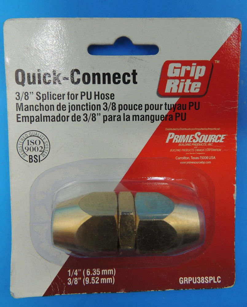 "NEW Grip-Rite Quick-Connect 3/8"" Brass Polyurethane Hose Splicer GRRPU38PLC NIP"
