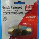 "NEW Grip-Rite Quick-Connect 3/8"" Brass Polyurethane Hose Splicer GRRPU38PLC NIP"