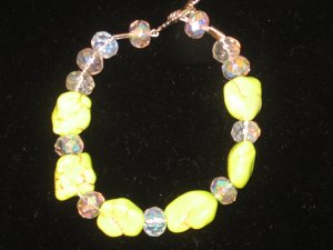 Bright Green Turquoise and Crystal Bracelet
