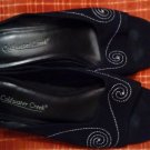 SHOES/BLACK/WHITE STITCHING/COLDWATER CREEK/SIZE 7 1/2 M/1 INCH HEEL/