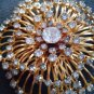 PINS/BROOCHES/FABULOUS PIN FROM 50'S-60'S/LARGE/STONE/GOLD TONE/UNSIGNED-VINTAGE