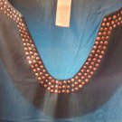 BLOUSE/TOP/LADIES/NWOT/SZ XL? / TEAL W/SILVER STUDS ON U-V NECK. BEAUTIFUL