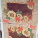 """PLACEMATS/NEW/COTTON PLACEMATS/2 MATS/SIZE 13"""" X 18""""/SUNFLOWERS/LEAVES/GLITTER"""