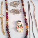 JEWELRY/VINTAGE FASHION JEWELRY LOT/SHOE CLIPS, WATCH, BEADS, NECKLACES, PIN