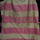 LADIES/JUNIORS/T-SHIRT W/SILVER STUDDED HEART FRONT/PRE-OWNED.GD.COND./S-M/