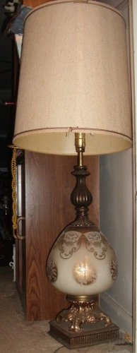 LAMP/VINTAGE/1950'S-60'S/GOLD/WHITE/HEAVY DUTY/LOCAL PICK UP/LAMP/TRADITIONAL
