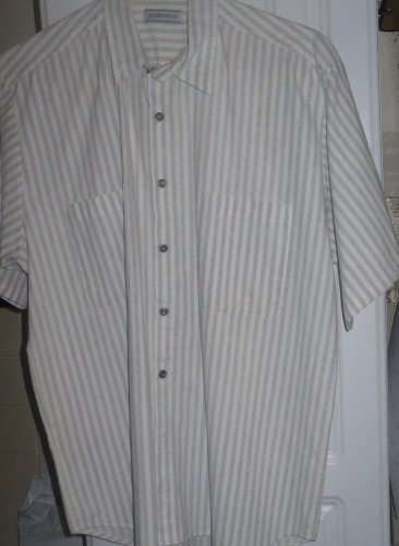 Shirt Men's BERKFIELD SHIRT USA MADE- STRIPED GRAY & ECRU -SZ. M. 100% COTTON