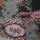 DISH CLOTHS TOWELS OVEN MITT SET 2 DISH TOWELS 1 OVEN MITT BARBEQUE THEME GREY
