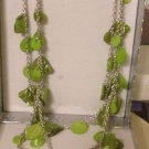 """Necklace Cerise/Lime Green & Silver Chain 3 strand Shell Necklace New Boxed 24"""""""