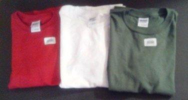 Boys/ T-Shirts COTTON SET OF 3 / LG /NWT/Youth Tees  GILDAN /GREEN / RED  /WHITE