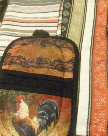 Kitchen BAR-TOWELS CLOTHS -2- -RUST.BLACK/WHT-GIFT-HOME-NEW BONUS POTHLD ROOSTER
