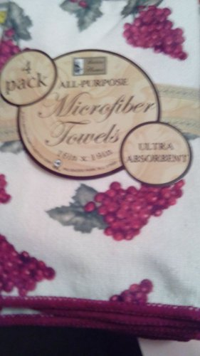 Towels Grapes Kitchen  Set Of 4 Towels  2 Solid Cranberry+  2 White With Grapes