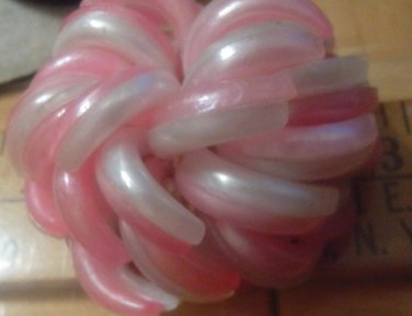 "Vintage Pin Brooch Curly Twisty 2"" Pin Family Estate - 1950's-60's Pink & White"