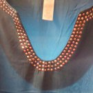 Blouse/ Top/ Ladies SZ XL?  Teal W/Silver Studs On U-V NECK. Reduced Summer Sale