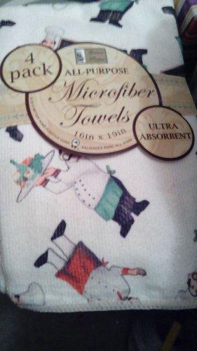 Towels / Kitchen Towels / Set Of 4 Towels / 2 Solid + 2 Tuscan Chef / Microfiber