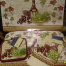 DINNER PLACEMAT SETTINGS VINYL PLACEMATS PAIR POTHOLDERS 1 DISH TOWEL TUSCAN NEW